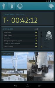 SpacPad showing countdown and checklist while rocket is prepering for launch